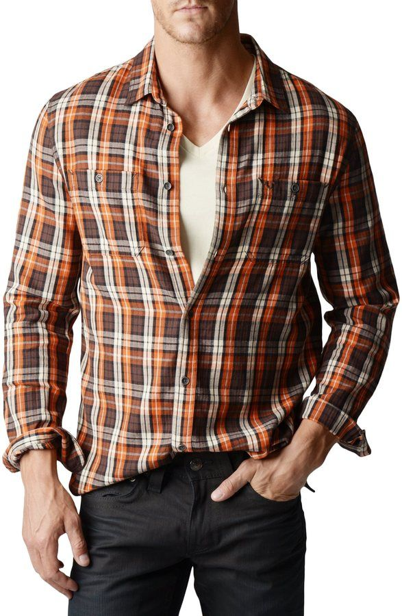 89445ef9e True Religion Rust Plaid Workwear Mens Shirt on shopstyle.com ...