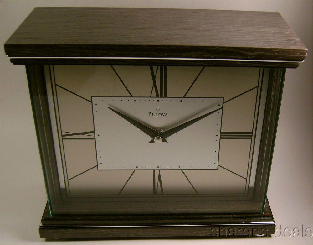 Bulova B7656 Preston Mantel Clock Wood Case Protective Wrap Around Glass Lens Polished Chrome Inlaid Accents And Feet Brushed A Bulova Clock Clock Mantel Clock