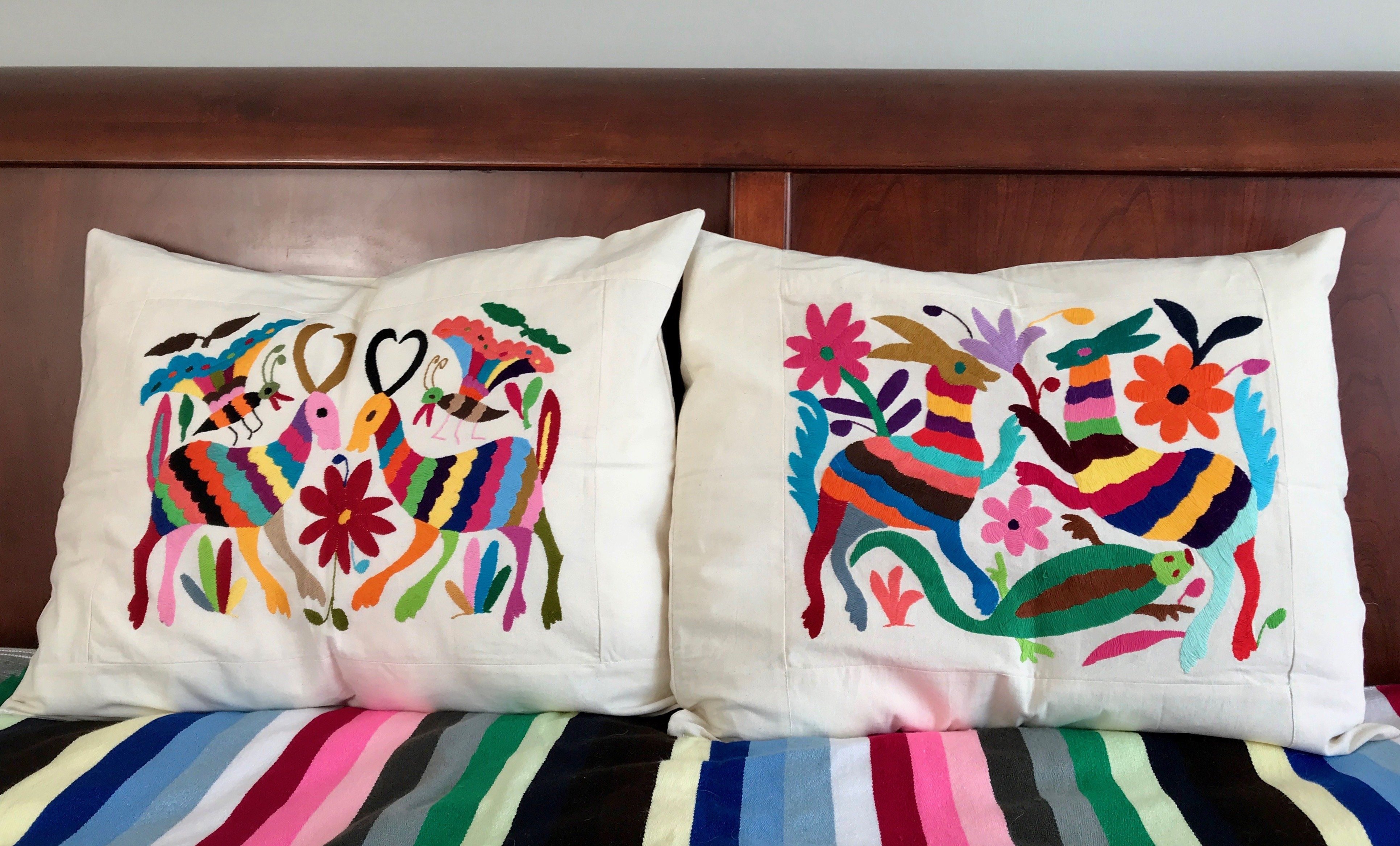 Pair of hand embroidered otomi pillow shams pillows and products
