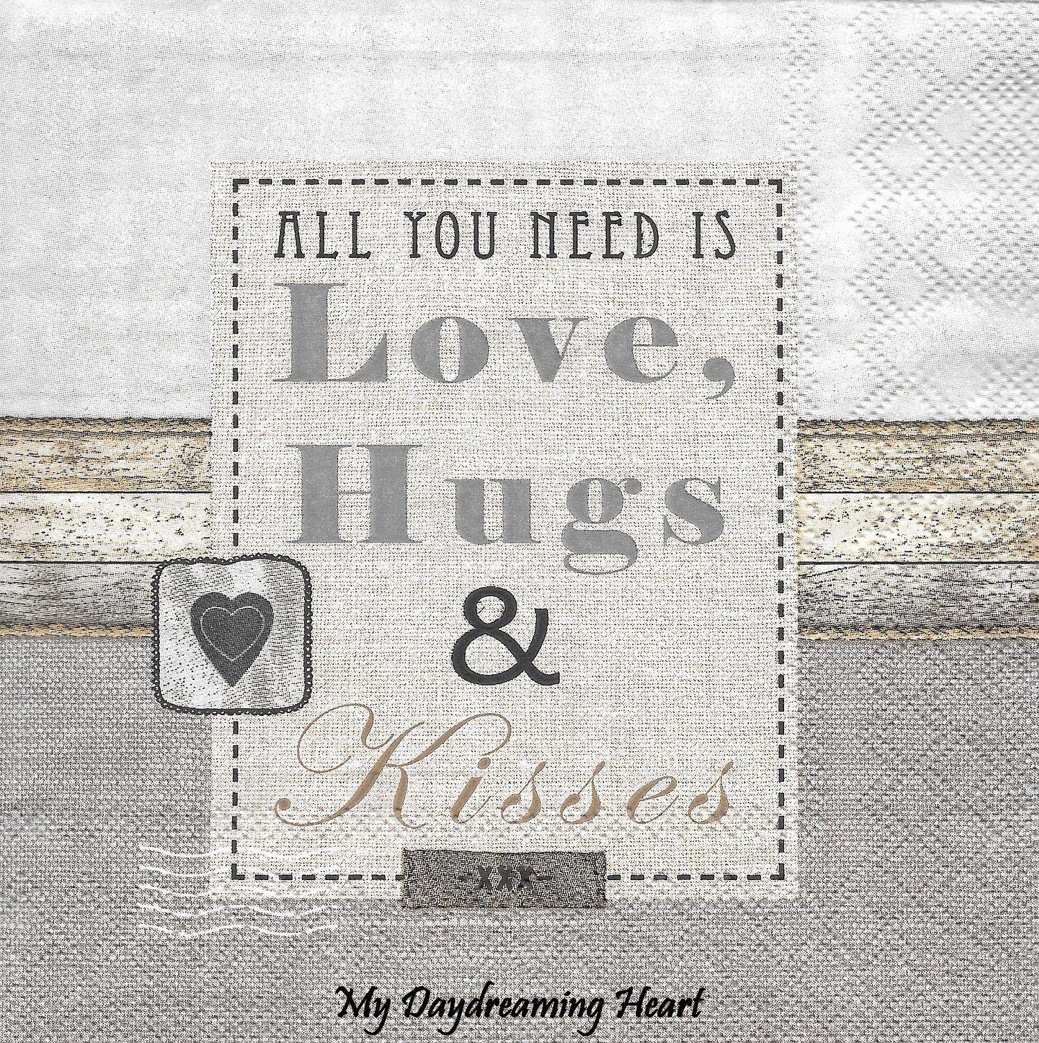 Decoupage Paper Napkins Love Saying Love Hugs & Kisses Paper Napkin Weathered Wood Board And Burlap Collage Design Napkin Decoupage Supplies #papernapkins