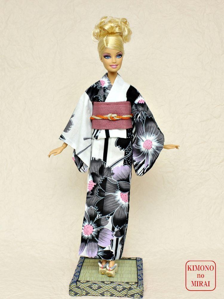 White YUKATA kimono Barbie,Poppy Parker,FR NIPPON,obi,wafuku,Japan KIMONOnoMIRAI #KIMONOnoMIRAI