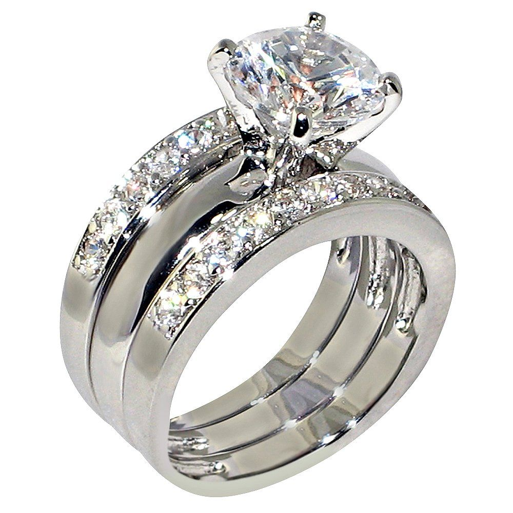 3 47 Ct Round Cubic Zirconia Cz Solitaire Bridal Engagement Wedding Piece Ring Set 5