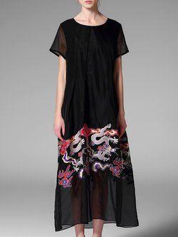 Black A-line Casual Dragon Printed Crew Neck Maxi Dress
