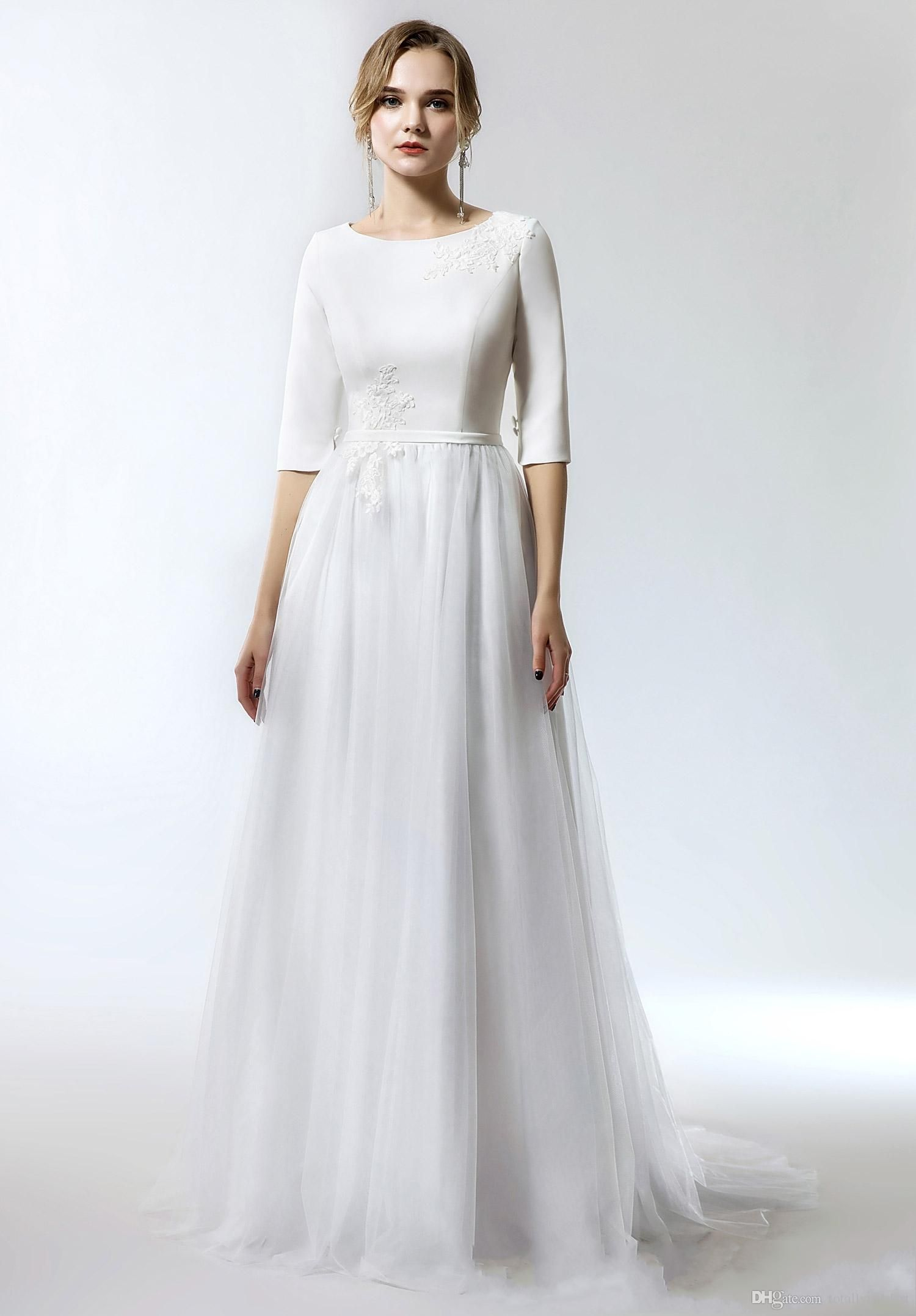 Modest Wedding Gown With Sleeves in 2020 Cheap simple