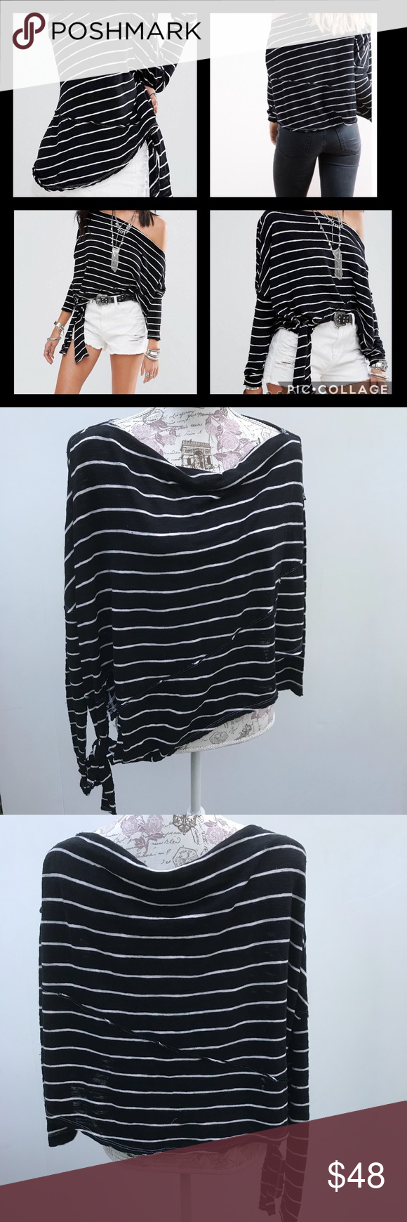 358784323e Free people we the free striped black & white top Free People we the free  love lane striped knot T-shirt off the shoulder size S retail 68 Free  People Tops ...