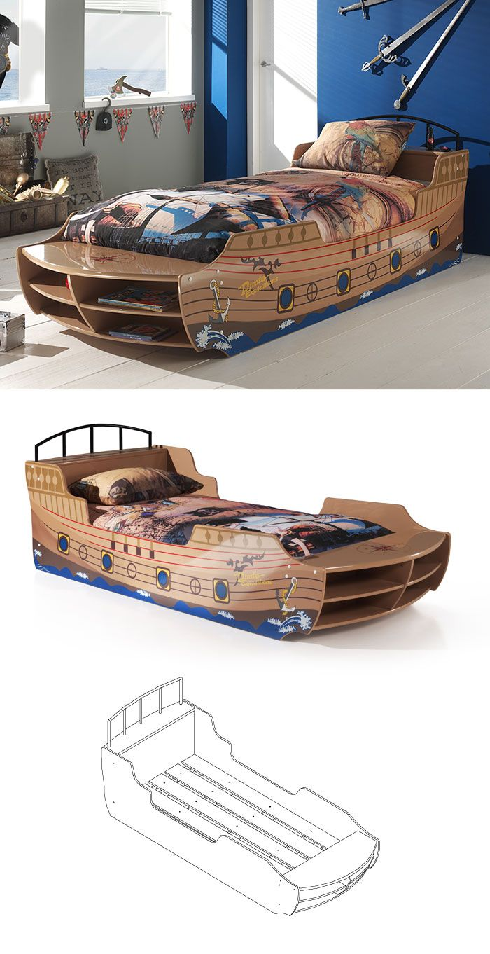 tolles piratenbett aus lackiertem mdf inklusive lattenrost pirat kapit n bett. Black Bedroom Furniture Sets. Home Design Ideas