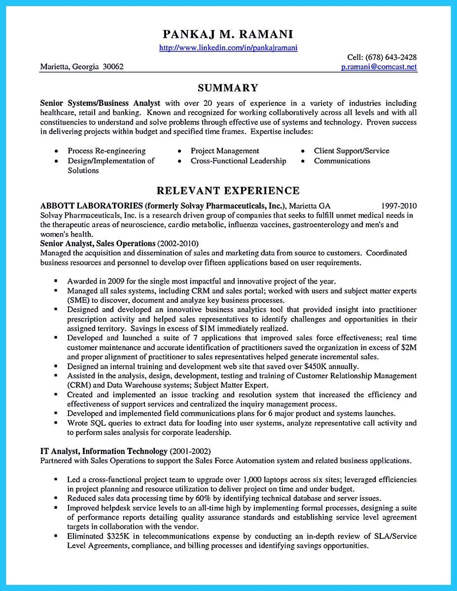 Insurance Business Analyst Sample Resume Glamorous Awesome Create Your Astonishing Business Analyst Resume And Gain The .