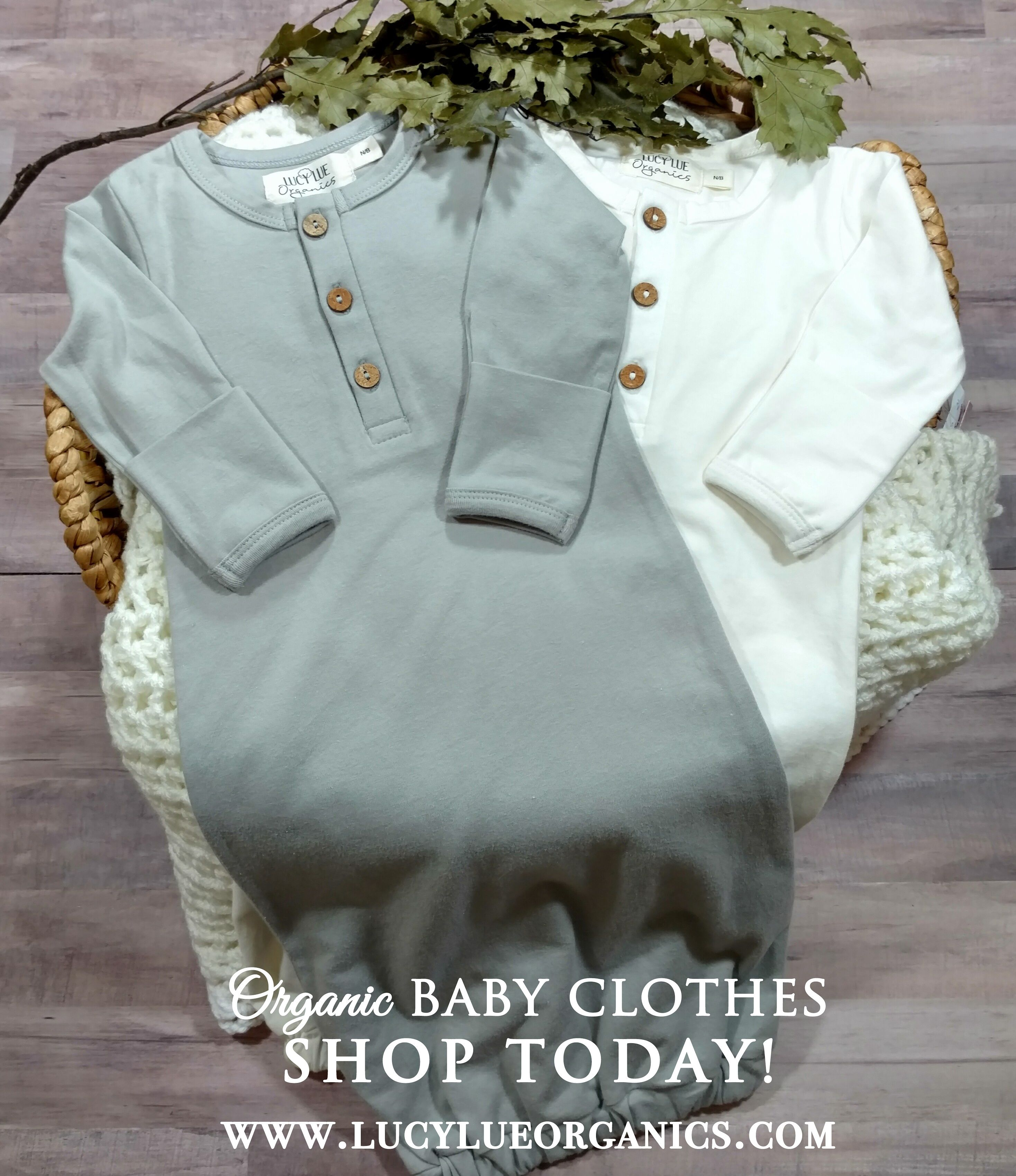 Organic cotton baby gown stone grey