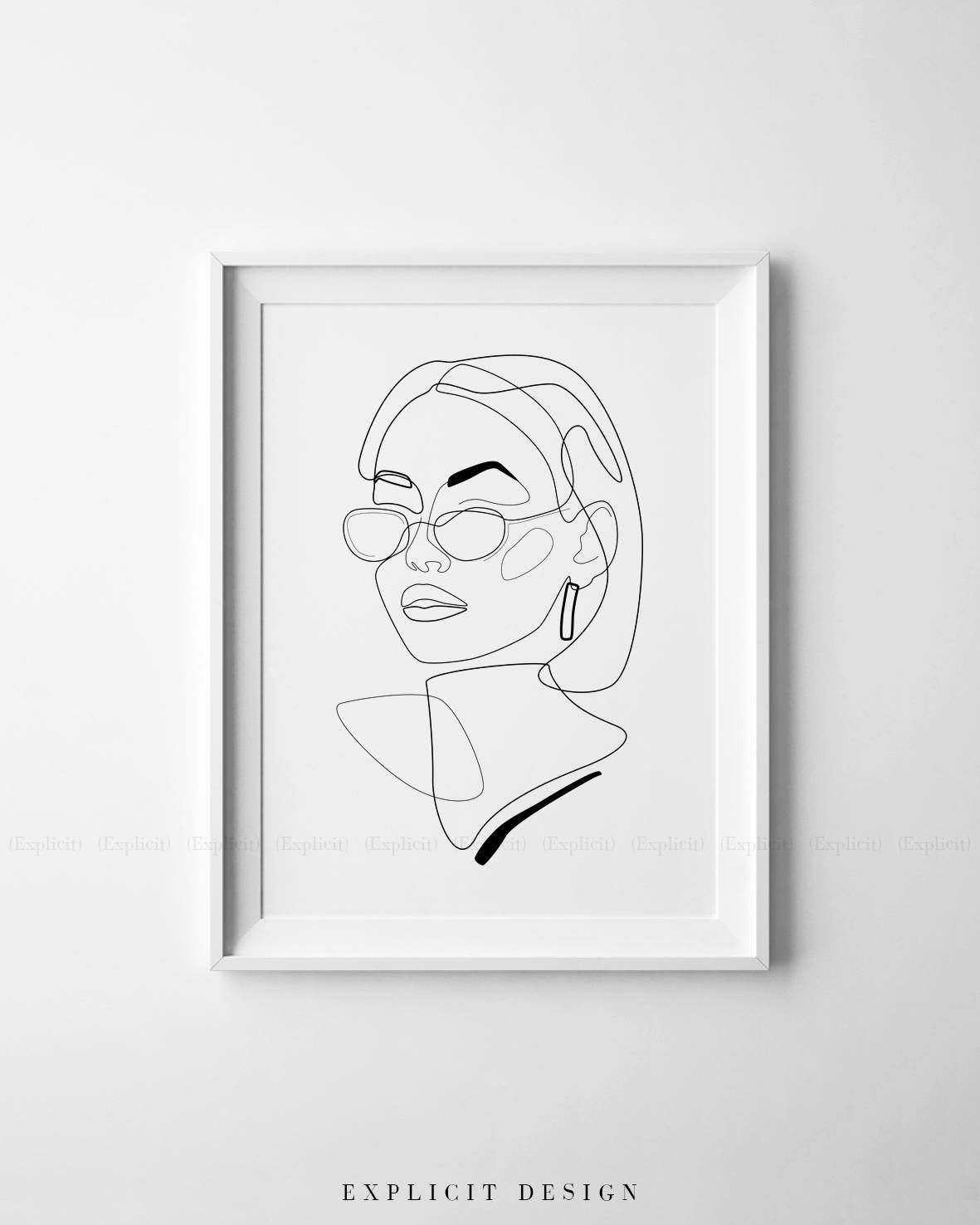Printable  inspired drawing female face lines illustration one line girl sketch glasses fashion woman print minimalist style wall art instant also rh pinterest