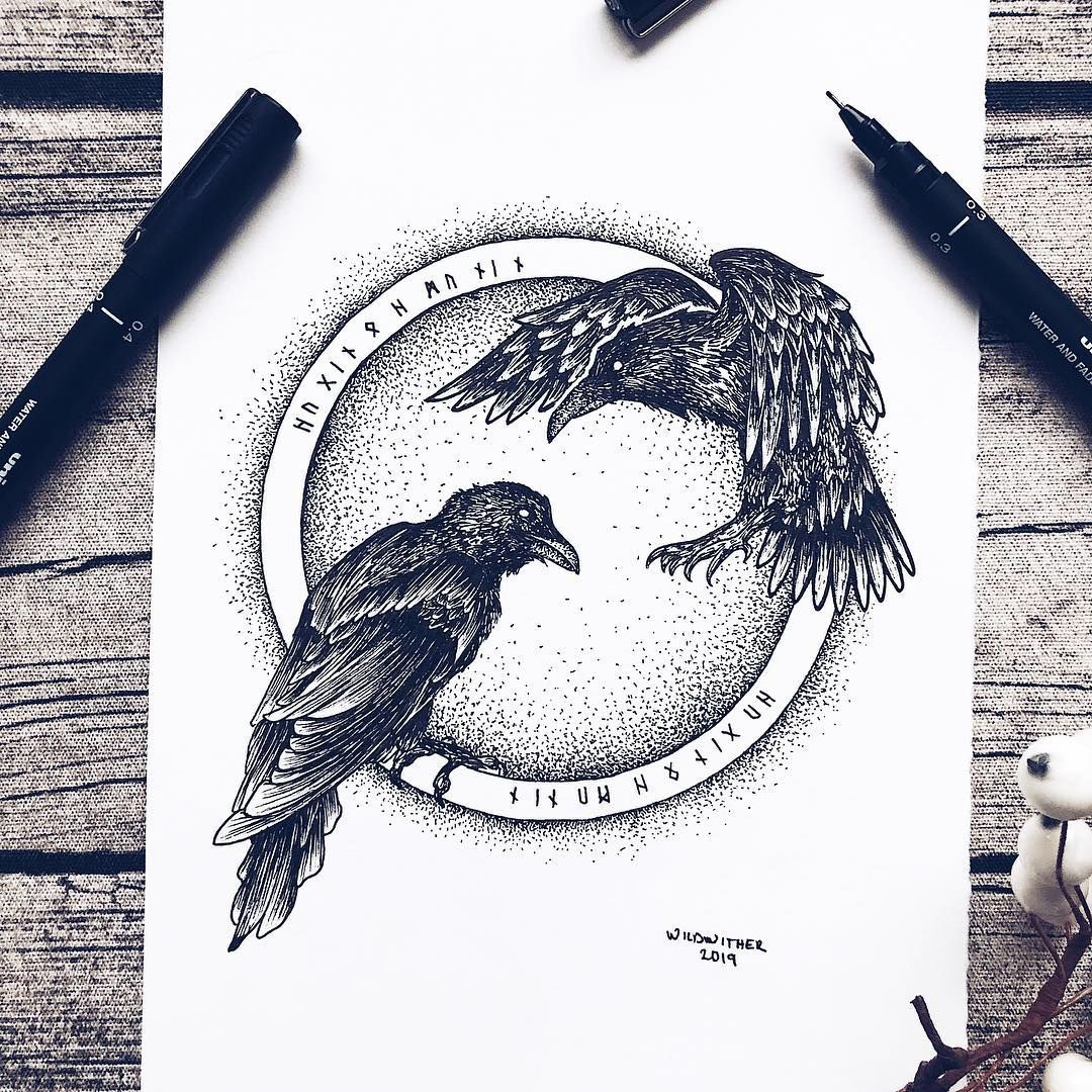 "Josefine Svärd - Art & Life on Instagram: ""H u g i n & M u n i n • Norse Folklore Series • No. 1 • . ""In Norse mythology, Hugin and Munin are a pair of ravens that fly all over the…"""