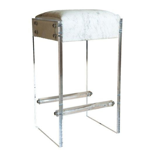 hair on hide lucite bar or counter stool  backless bar