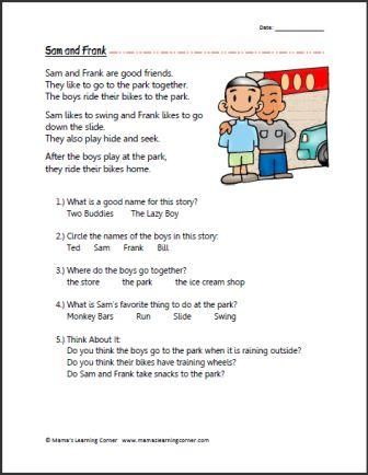 Printables Reading Comprehension Worksheets 1st Grade sam and frank first grade reading shorts kindergarten comprehension frank