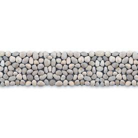X Decorative Pebbles Border White Natural Stone Mosaic Floor Tile (Actuals  X Bathroom Floor?