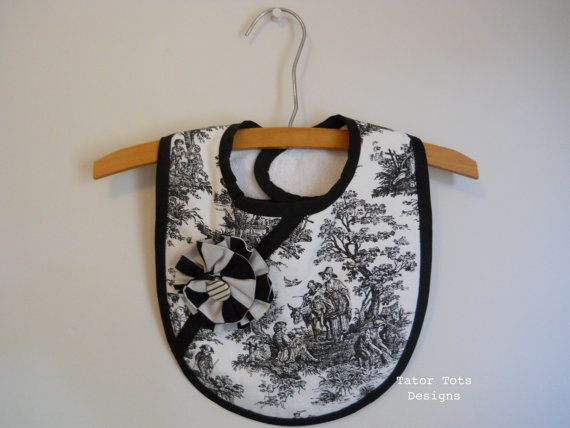 Black and White Toile Baby Bib  with Fabric by TatorTotsDesigns
