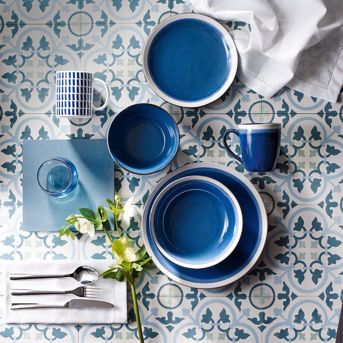 Elegant Tesco Direct: Blue Sahara Stoneware 12 Piece Dinner Set