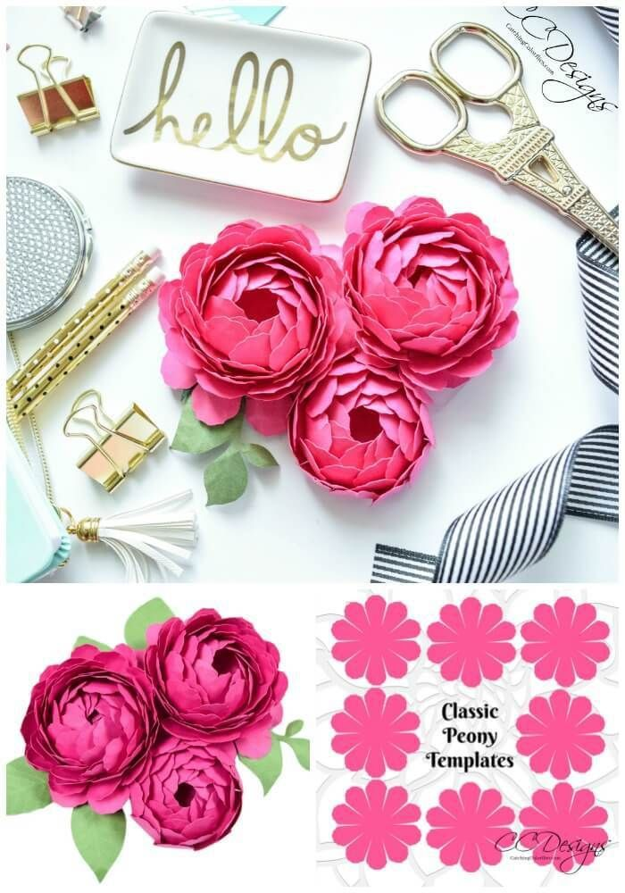 Pfingstrosen-Papierblumen-Vorlage: Schritt für Schritt Easy Paper Flower Tutorial – DIY Papier Blog