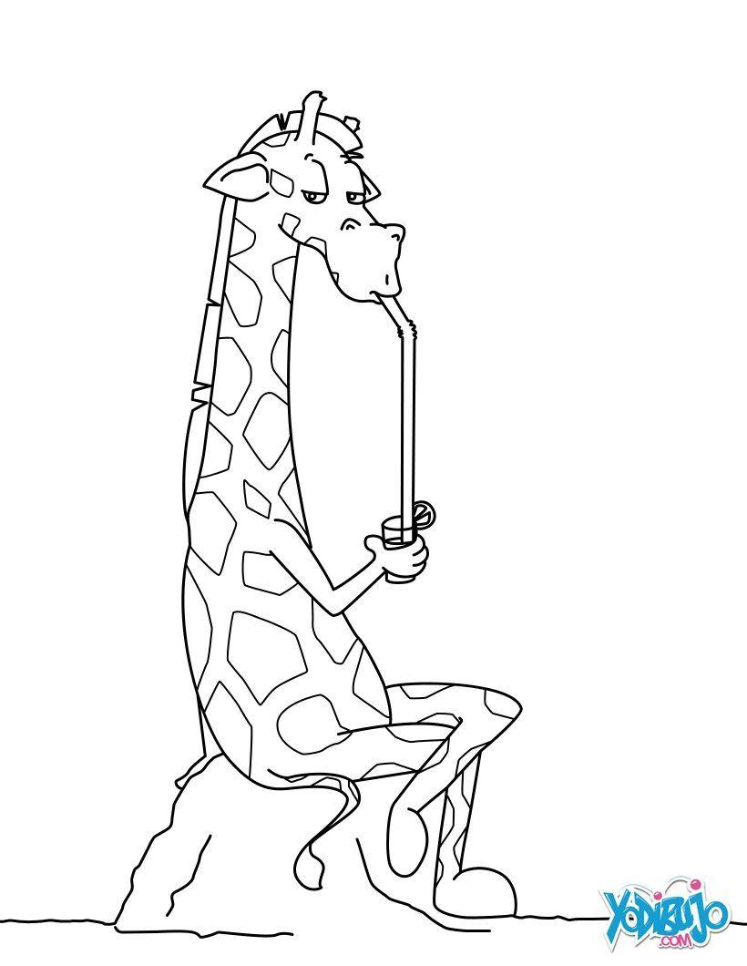 Dibujo para colorear : Jirafa que bebe un coctel | giraffe zwart-wit ...