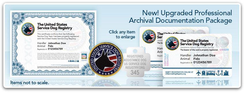 Archival Documentation Package Service Dogs Service Dog Registration Dogs