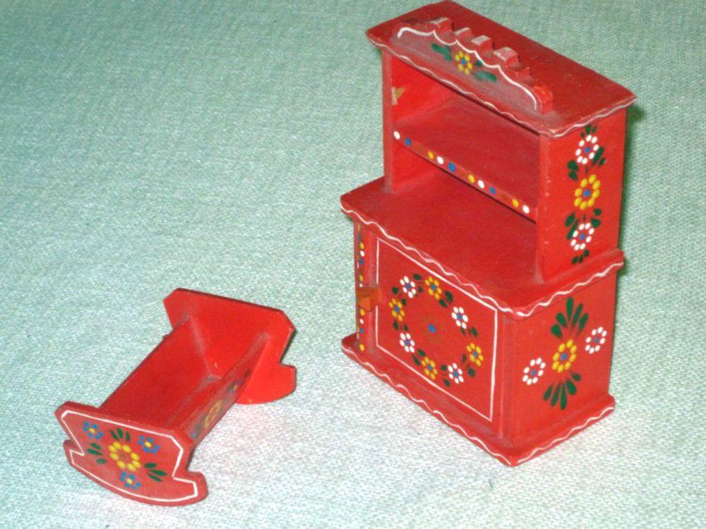 Popular Alte bemalte Puppen M bel Holz Schrank Wiege Puppenstube Puppenhaus Spielzeug