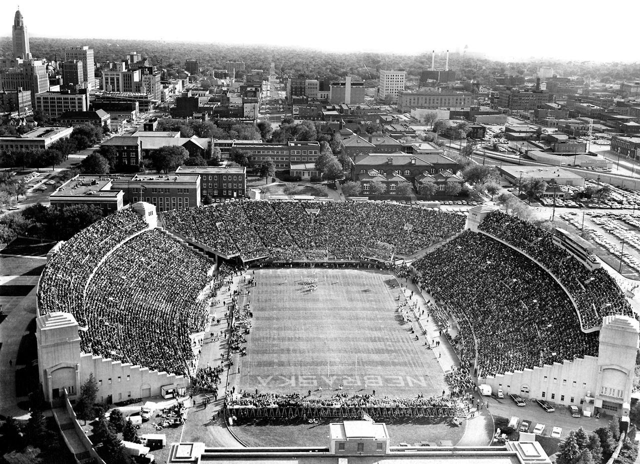 In 1964 A Record Of Crowd Of 47874 Fans Jammed Into Memorial Stadium Nebraska Cornhuskers Football Nebraska Football Nebraska Huskers Football