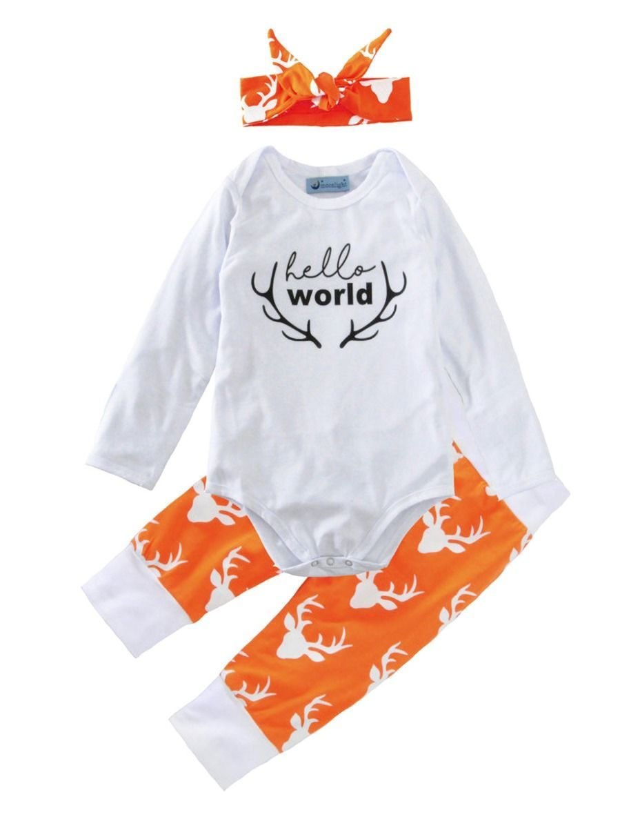 #littlegirl #set #outfits #bodysuit #pants #orange #helloworld  #autumnclothes2020 #wholesale
