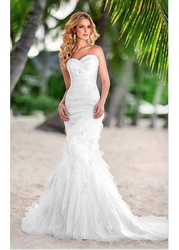 Sweetheart Mermaid Style Organza Satin Strapless Wedding Dress For Your Beach Dressilyme