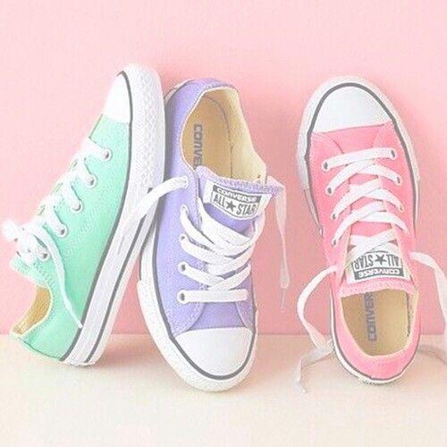 94febf799ac8 Converse all stars fashion fancy pretty cute shoes sneakers pink purple  mint green schoenen roze paars mint groen