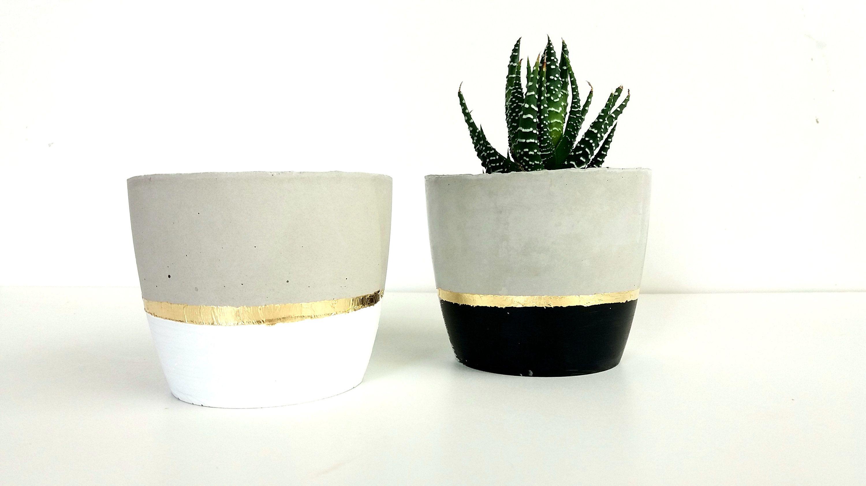 Concrete Plant Pot Concrete Planter Black And Gold Plant Pot Suculente Planter Modern Planter Housewarming Gif Concrete Plant Pots Concrete Planters Gift Vase