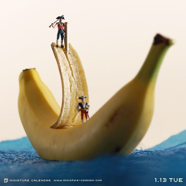 ". 1.13 tue ""Pirate"" . 「皮をむけ!錨を上げろ!」 . . #海賊 #バナナ #pirate #banana"