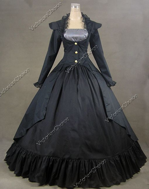 Gothic Victorian Cotton Satin Ball Gown Dress...looks like the ...