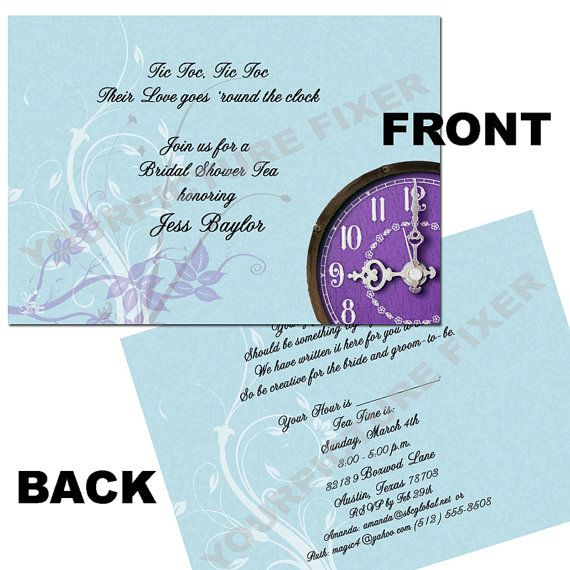 Around the clock bridal shower invitation filmwisefo Images