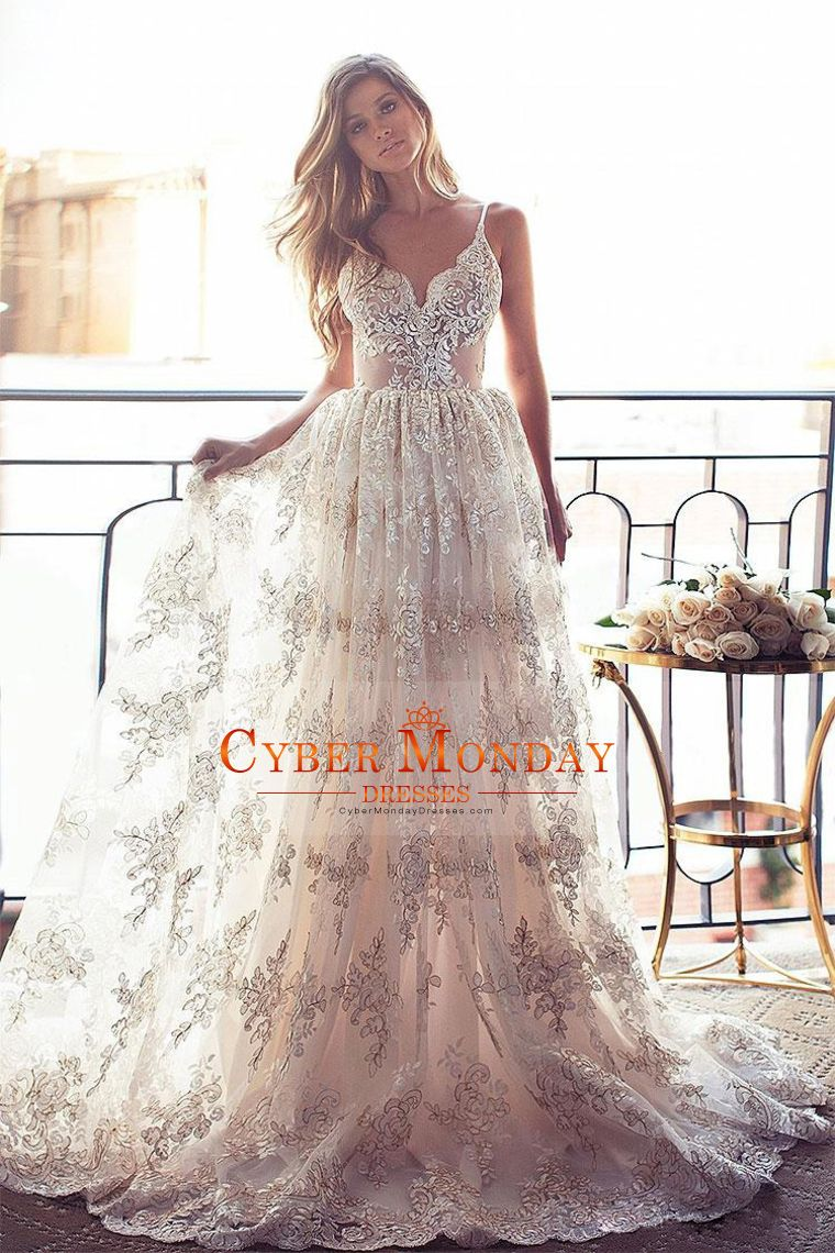 Open back wedding dresses lace   New Arrival Lace Wedding Dresses Spaghetti Straps A Line Open