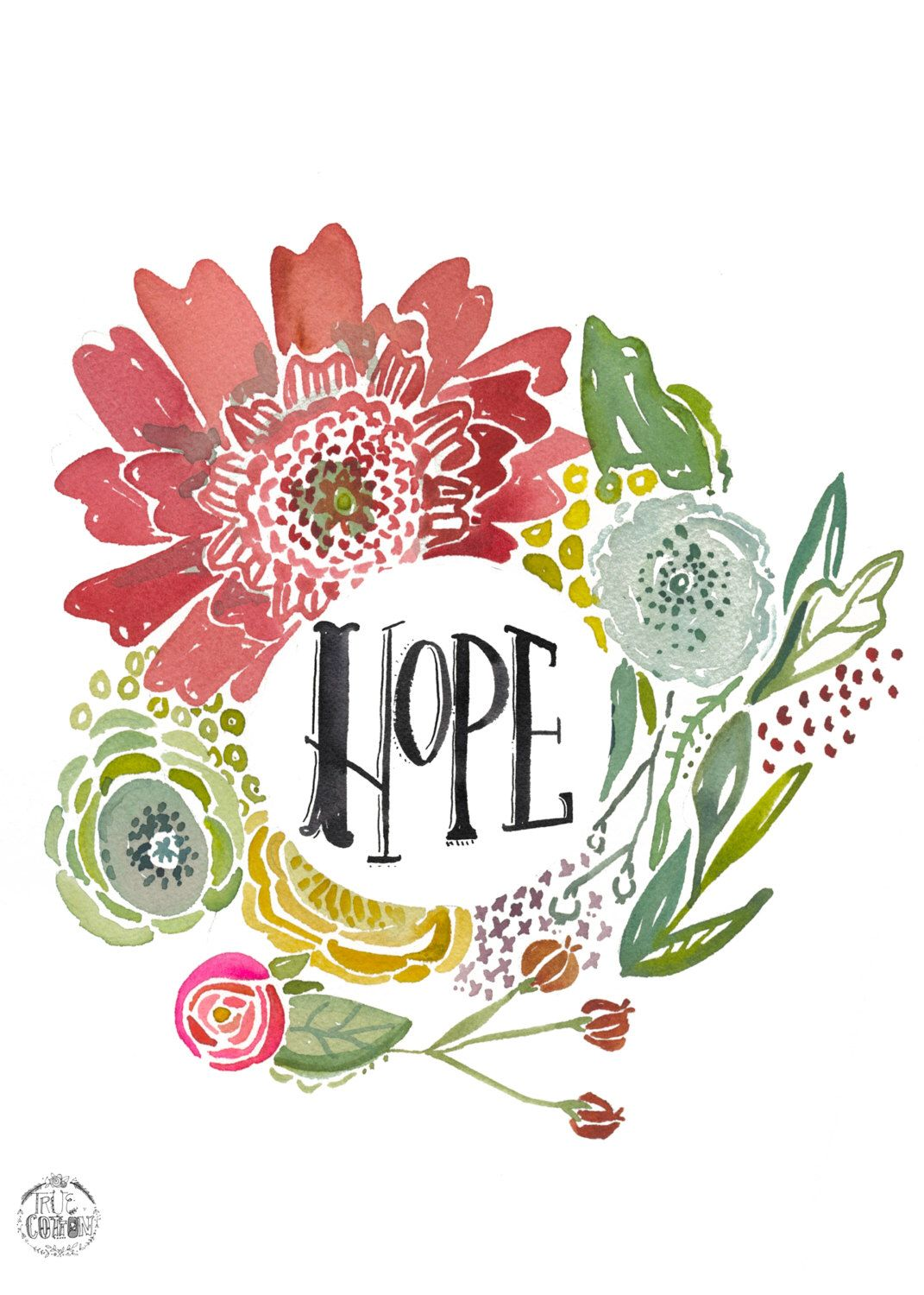 Hope Floral PRINT by truecotton on Etsy https//www.etsy