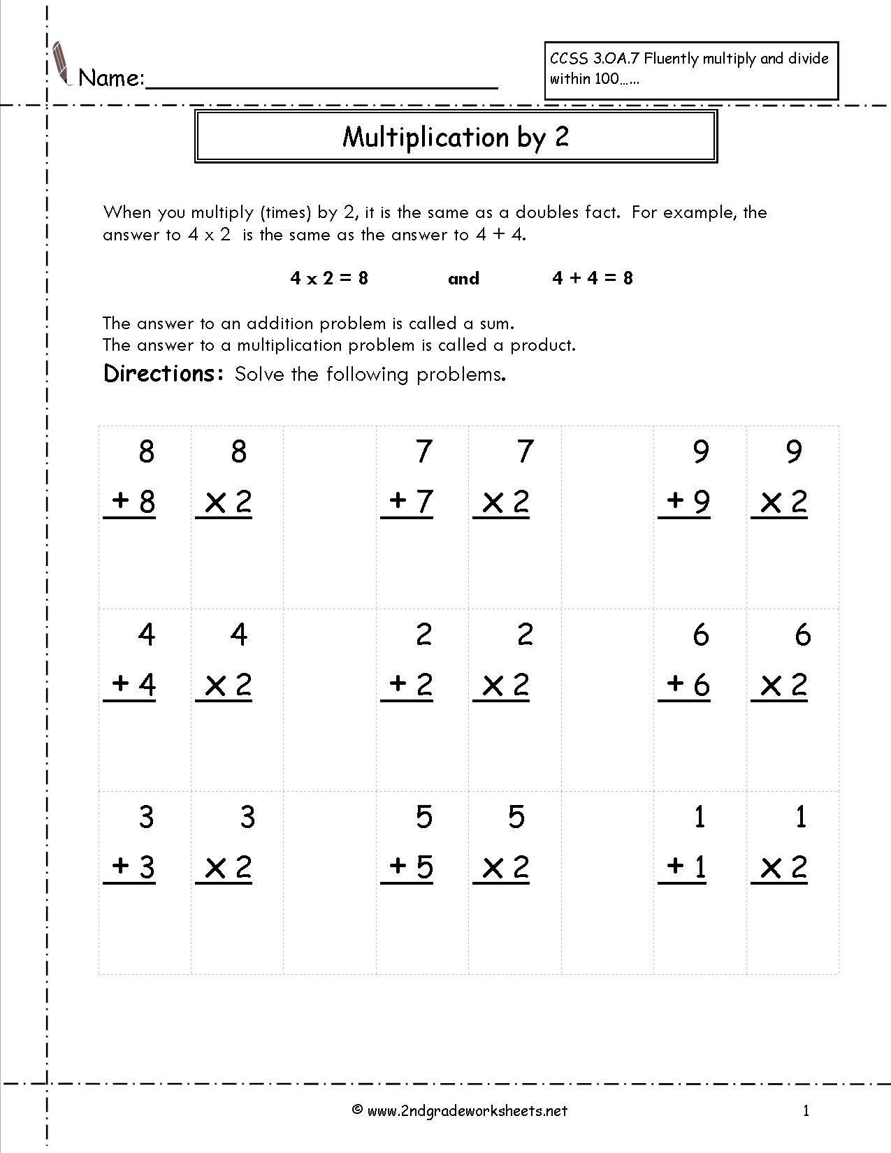 Free Multiplication Fluency Worksheets Pictures