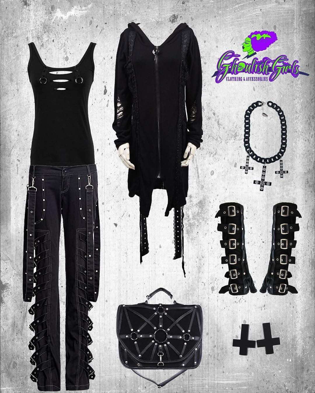 05c317f0cf79 This unisex outfit embraces the street wear style with punk   goth  influences. Featuring clothing from Punk Rave