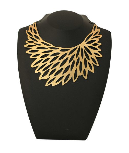 Leather Flowerbloom Necklace Gold by Doury