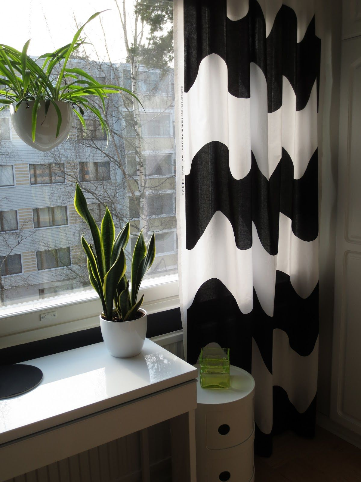 inspiration cotton black of white coated marimekko green curtains siirtolapuutarha fabric