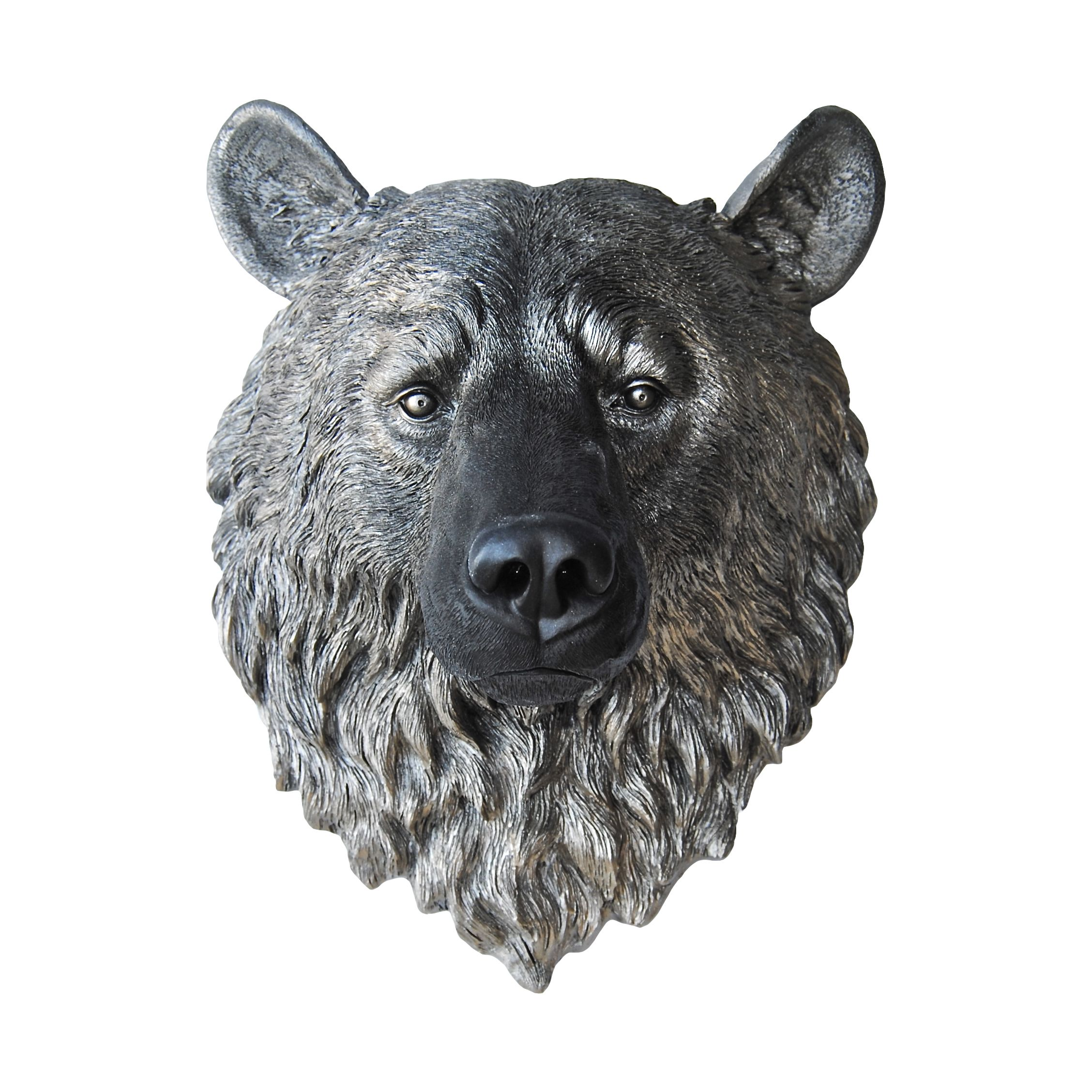 Faux Bear Head Wall Mount Black And Metallic Caramel Faux