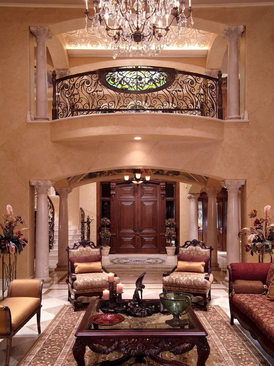 Traditional living room with elegant indoor balcony for Living room balcony design