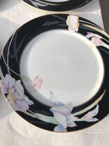 MIKASA-Charisma-Black-L9050-SET-of-4-10-5-034-DINNER-PLATE-Japan ...