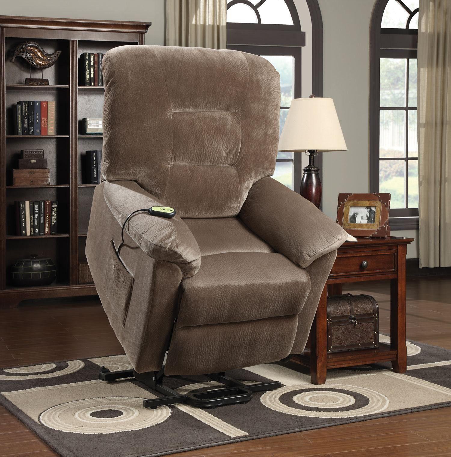 Brown Sugar Textured Velvet Fabric Power Lift Recliner Chair
