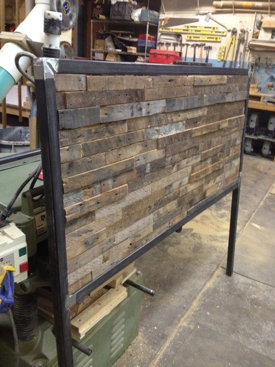 Reclaimed Wood and Steel Queen Sized Headboard - Reclaimed Wood And Steel Queen Sized Headboard Side Tables