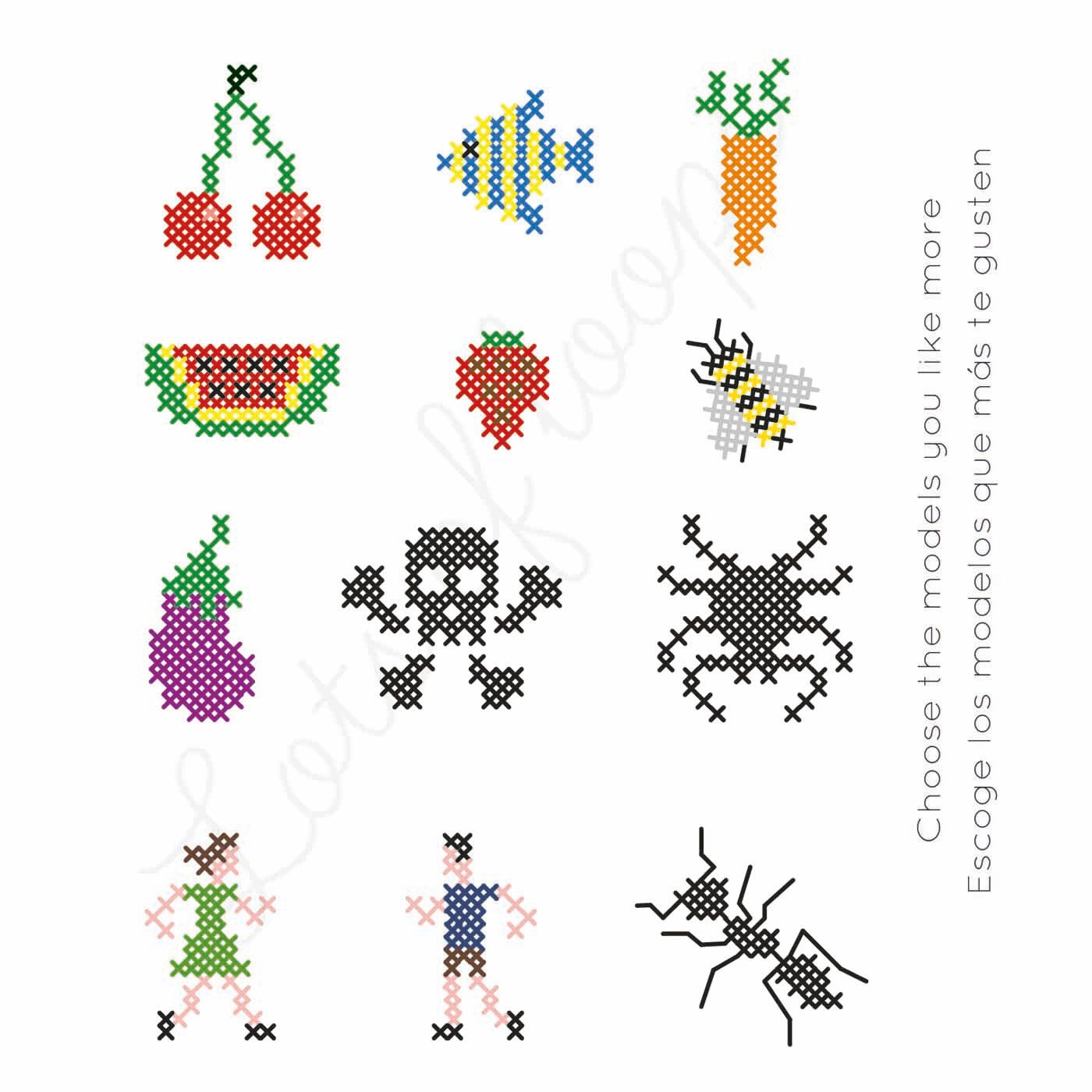 DIY Cross Stitch Kit for Kids, 2 units Puntos de bordado
