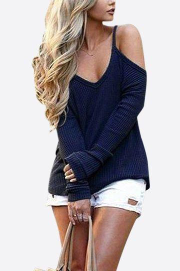Casual Blue Thin Shoulder Cold Shoulder Long Sleeve T-shirt