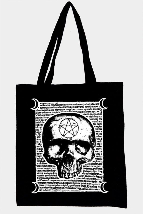 Black tote bag,original witchcraft illustration MALEFICARUM,cotton and…