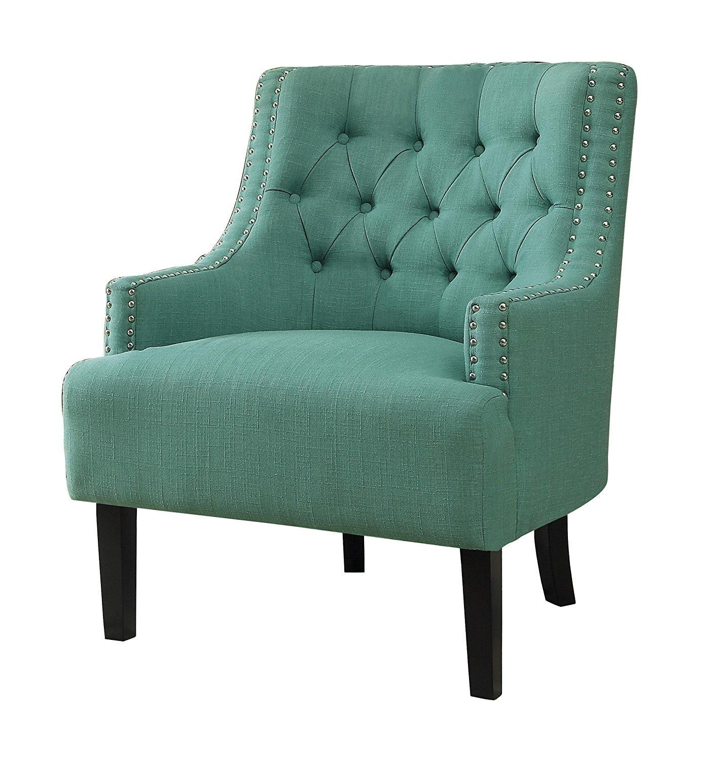Amazon.com: Homelegance Charisma Accent/Arm Chair, Teal Fabric ...