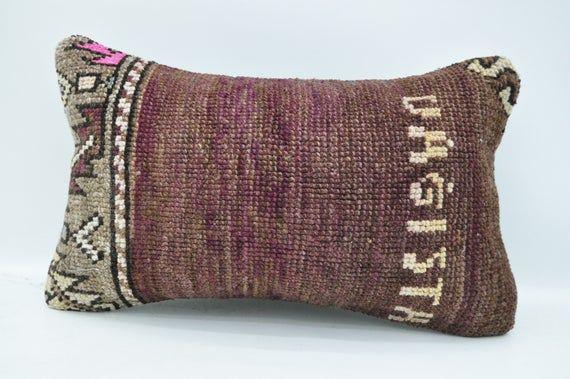 """turkish rug pillow 12""""x20""""lumbar pillow rug pillow tribal pillow cover handmade boho pillow  bedroom"""