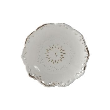 Lazy Susan USA Pierced Scalloped Ceramic Dish