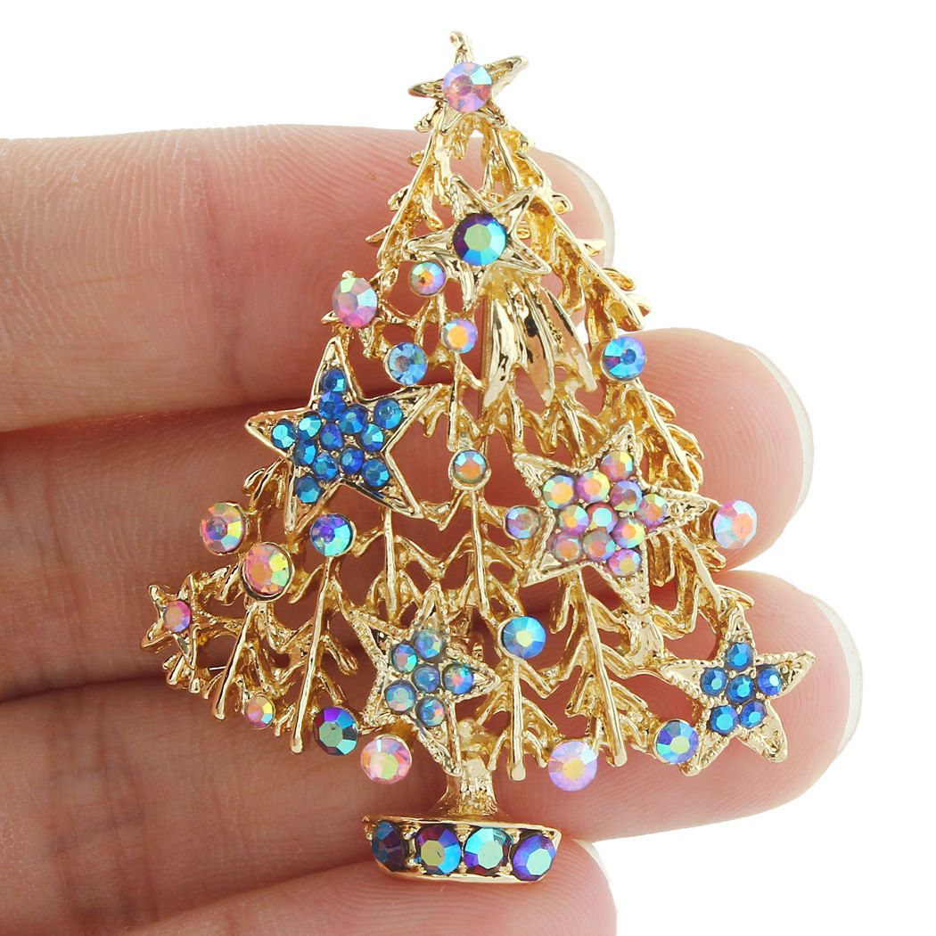 Around The City Diamontrigue Jewelry: Blue Rhinestone Stars Christmas Tree Pin