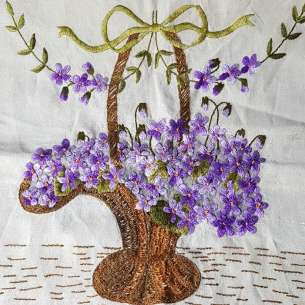 Gorgeous embroidered flower basket pillow panel. New this morning in my eBay store. . . . #embroidery #vintagesewing #1920sstyle #purple #cottagestyle #vintagecrafts #ebaystore #veeseller
